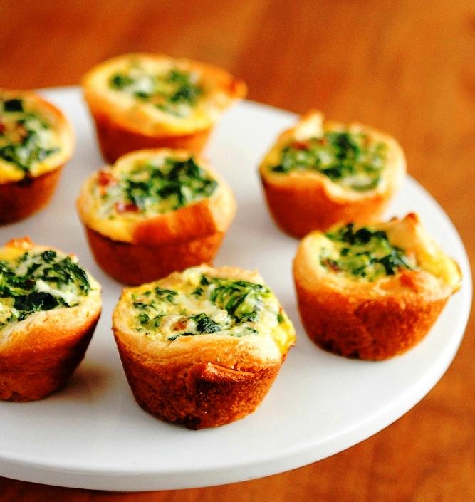Mini spinach breakfast quiche