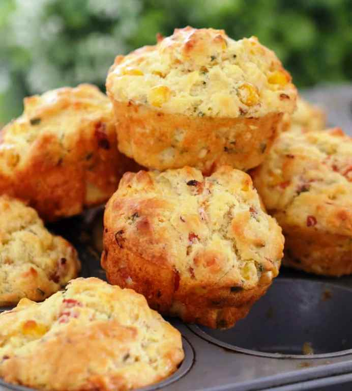 Savory ham, corn, cheese and chives muffins