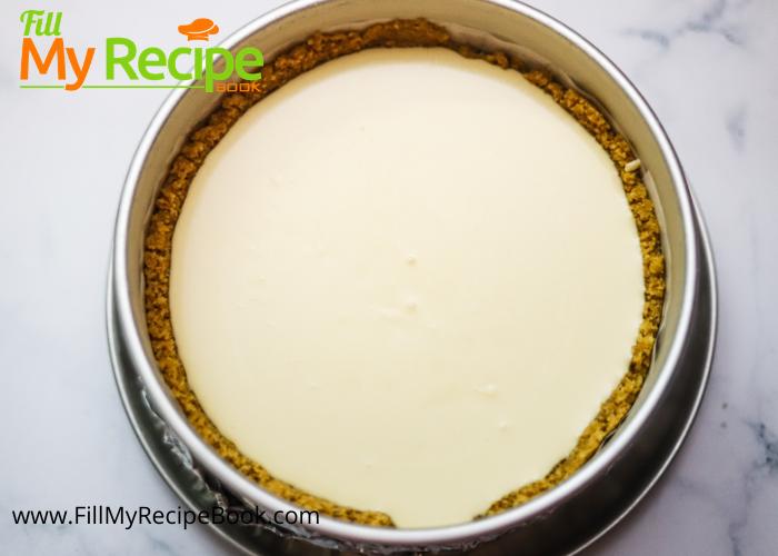 earl grey cheese cake mixture in baking pan