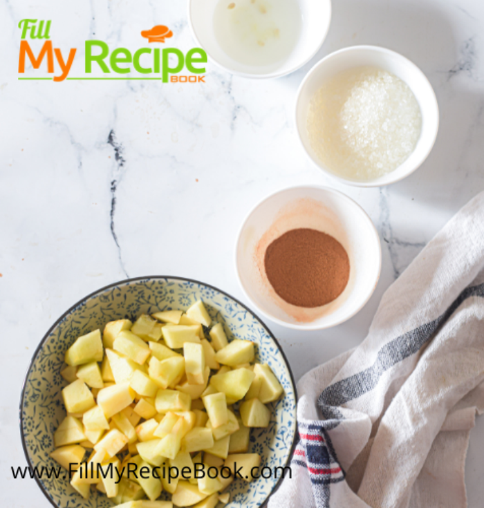 ingredients and apples chopped for mini homemade apple pies
