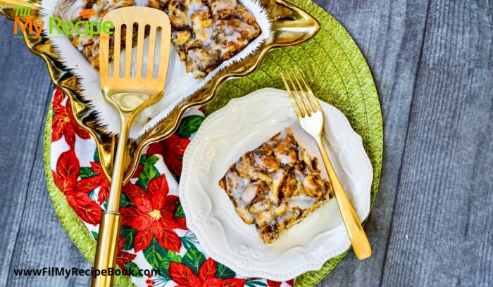 plated slice of cinnamon breakfast casserole