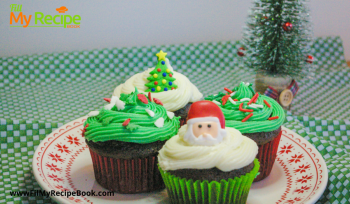 Iced chocolate Christmas cup cakes green and white icing on chocolate cup cakes