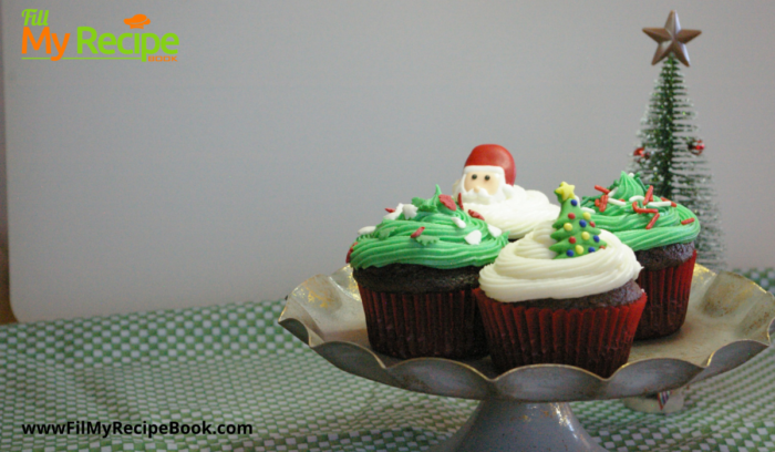 chocolate cup cakes iced for christmas