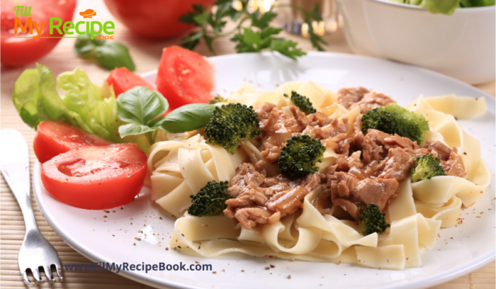 Pasta and meat with salad or veg.