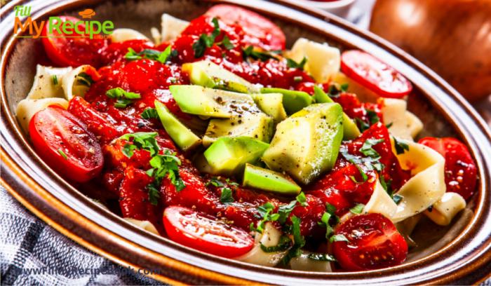 pasta with vegetables or salad for vegetarians