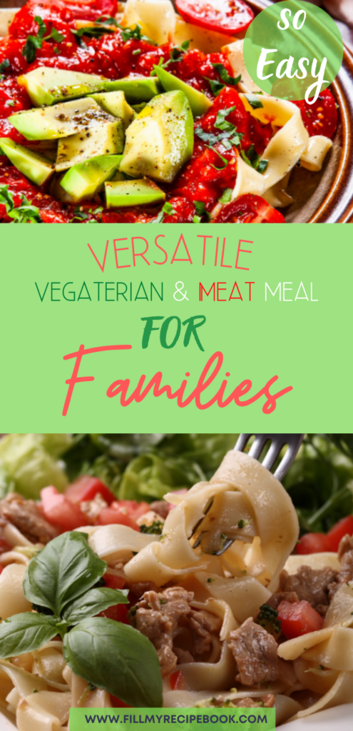 A pinterest post of the two meals in one, for vegetarians or meat eaters