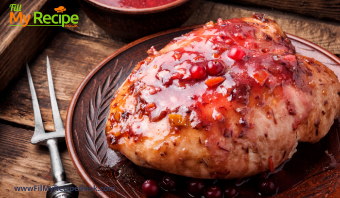 a whole baked apple & cranberry stuffed chicken breasts
