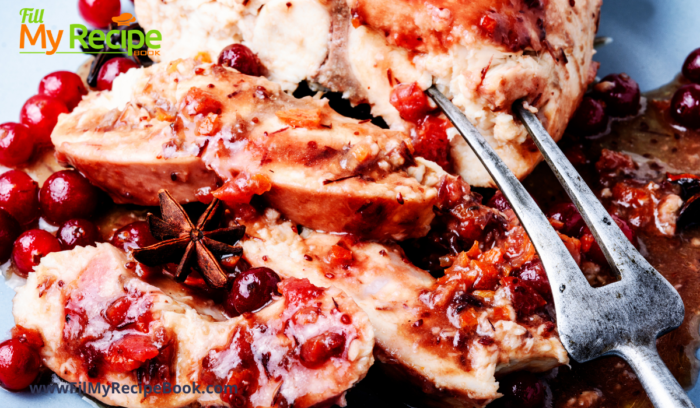 cut up baked apple & cranberry stuffed chicken breasts