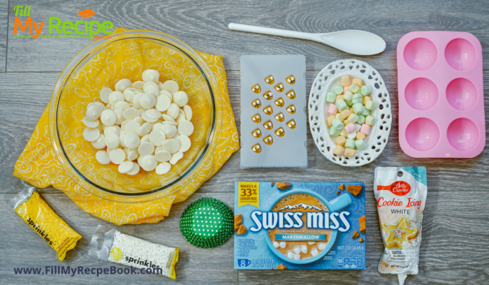 the ingredients for the marshmallow chocolate bombs.