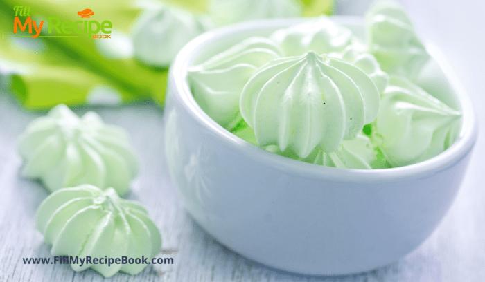 A bowl of mini mint meringues