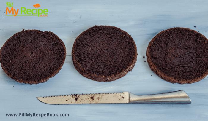 three layers of the chocolate gluten free cake