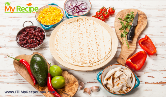 tortillas and corn and beans and other ingredients for  homemade tortillas