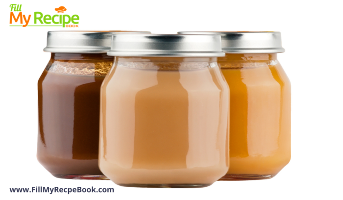 bottled pureed baby food for storage in a fridge.