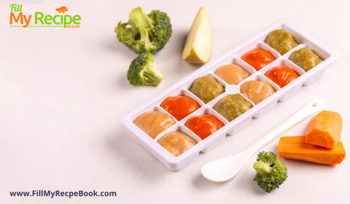 freezing stored baby food in ice trays.
