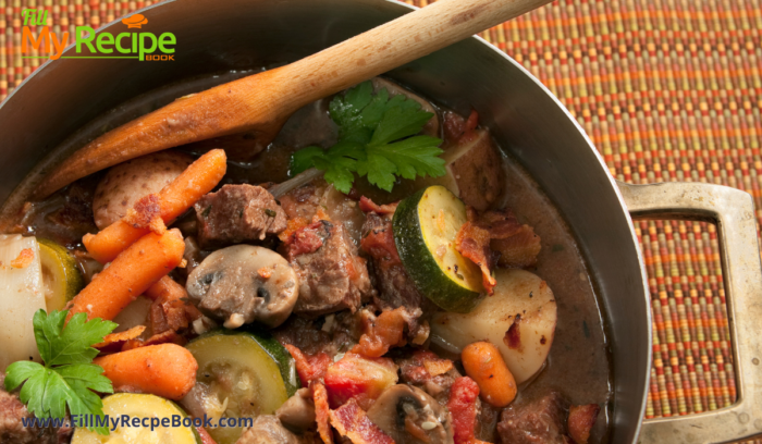 a pot of beef and vegetable stew that is cooked