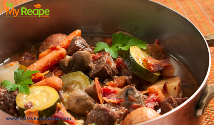 wonderful colorful beef and fresh vegetable stew in a pot ready to dish up