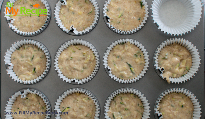 the muffin mix filled up the muffin pan for baking