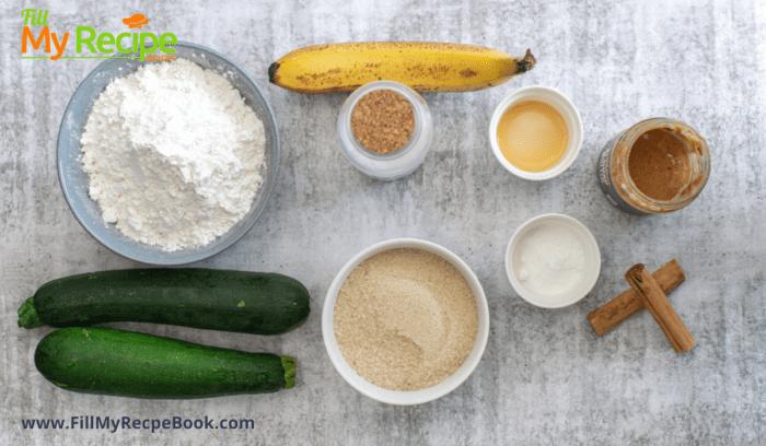 ingredients for the recipe gluten free zucchini muffins
