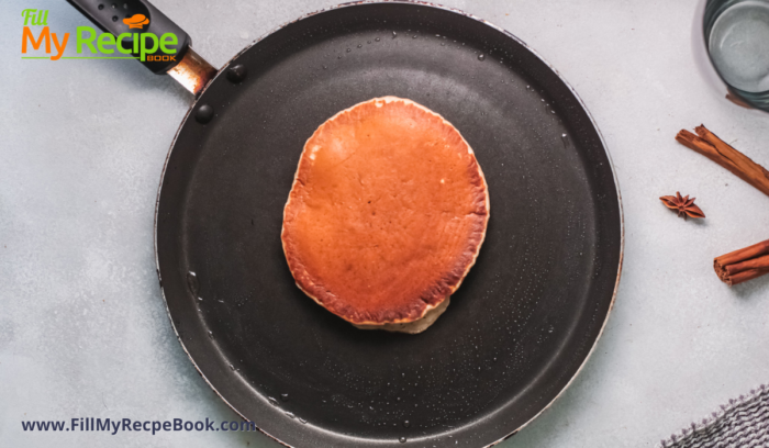 frying pancakes in a pan, the size of a flapjack