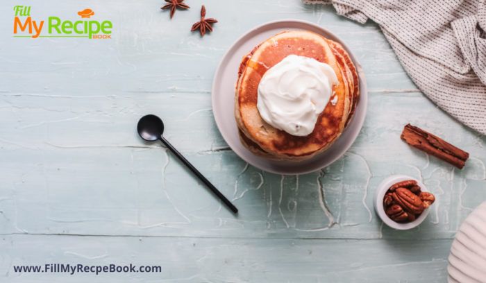 Maple syrup drizzled Pancakes made with cinnamon and cream plated to eat