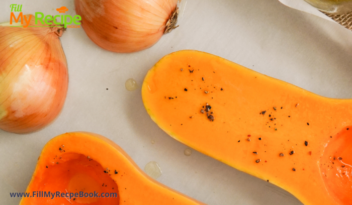placing the onion and butternut in a roasting pan.