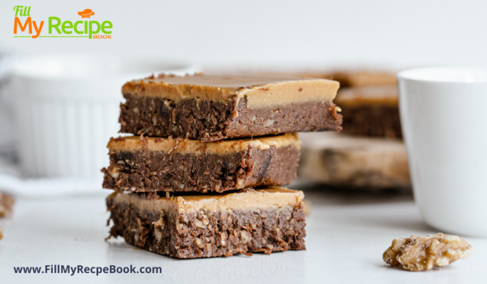 slices of nut and date chocolate brownies ready to serve