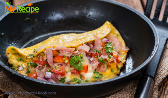 a filled bacon and cheese and herbed omelet