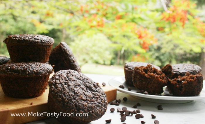 divine oat and chocolate muffins made with honey.