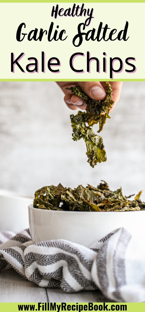 a Pinterest image of healthy garlic salted kale chips