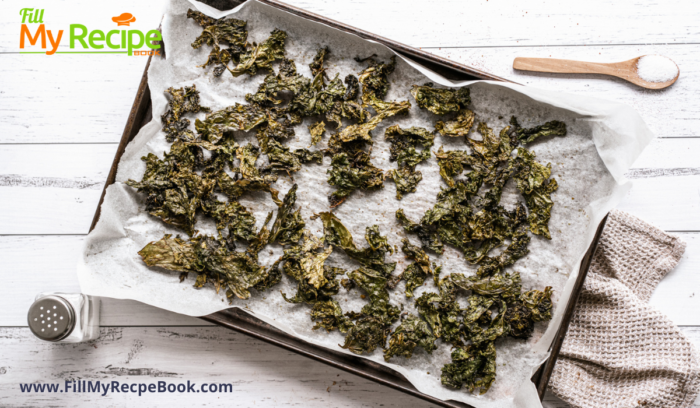 a pan of dried kale chips