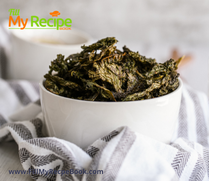 close up of the baked kale chips in a bowl to enjoy
