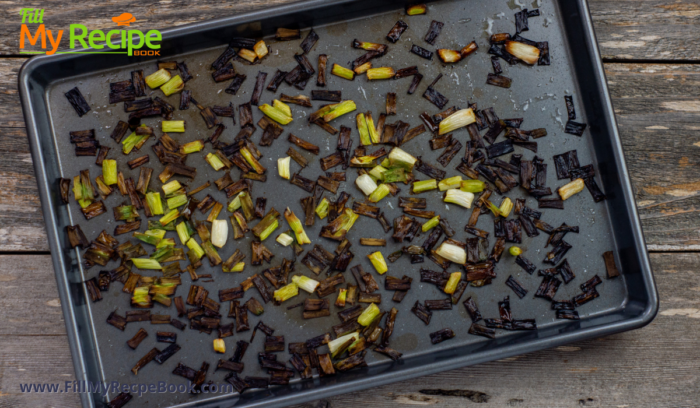green onion finally roasted in a pan