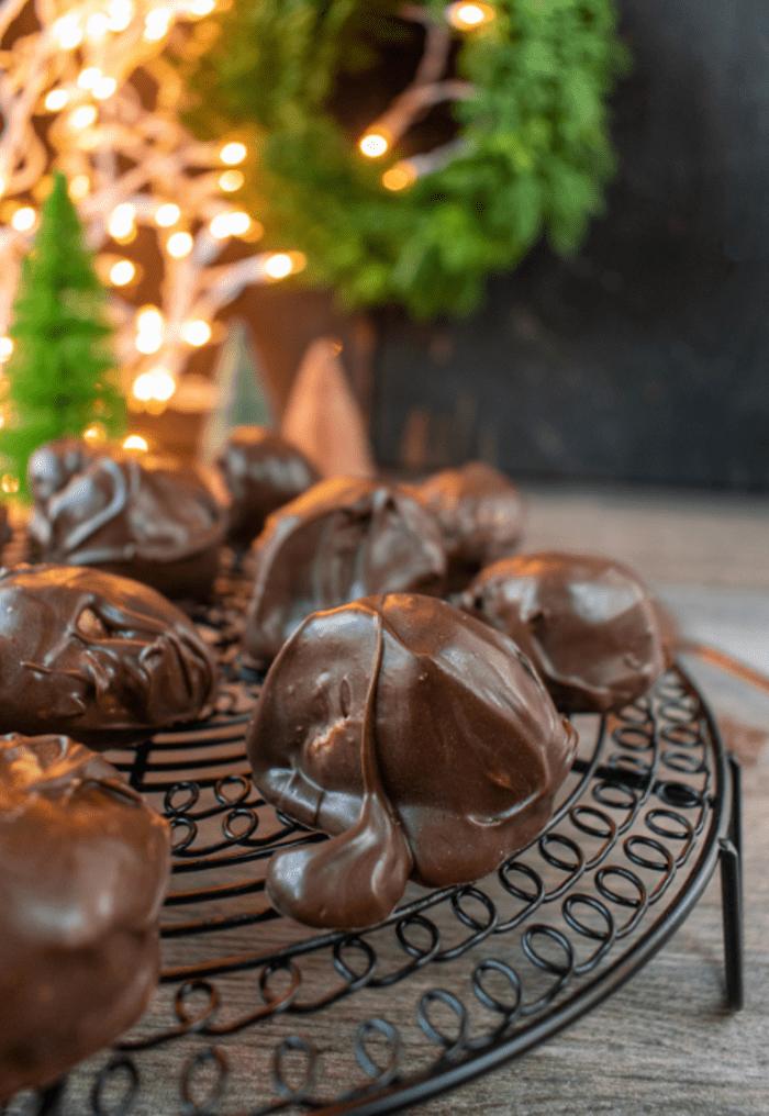lovely dark coated peanut butter truffles