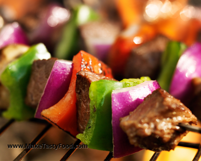 grilled beef and pepper sosaties