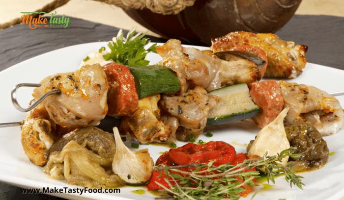 grilled honey and mustard chicken kebabs