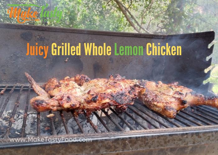 juicy grilled or braai whole lemon chicken