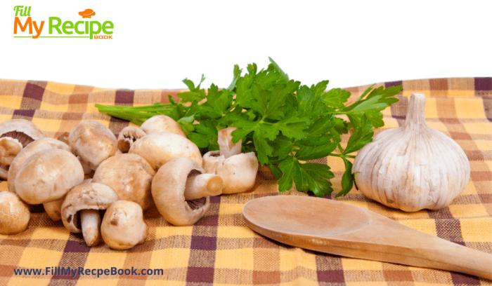 ingredients of mushroom garlic and parsley